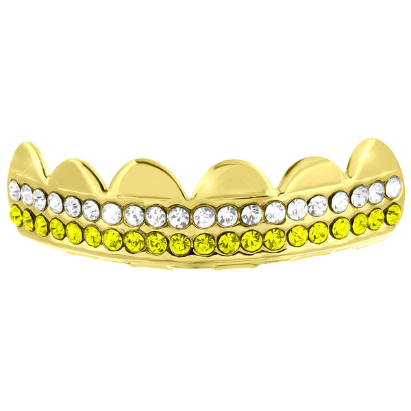 Yellow Gold finish Iced Top Grillz