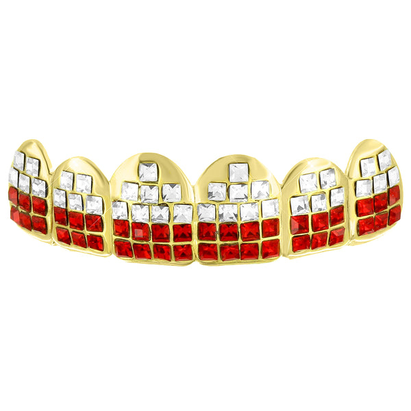 Red White Lab Diamond Top Teeth Mouth Grillz
