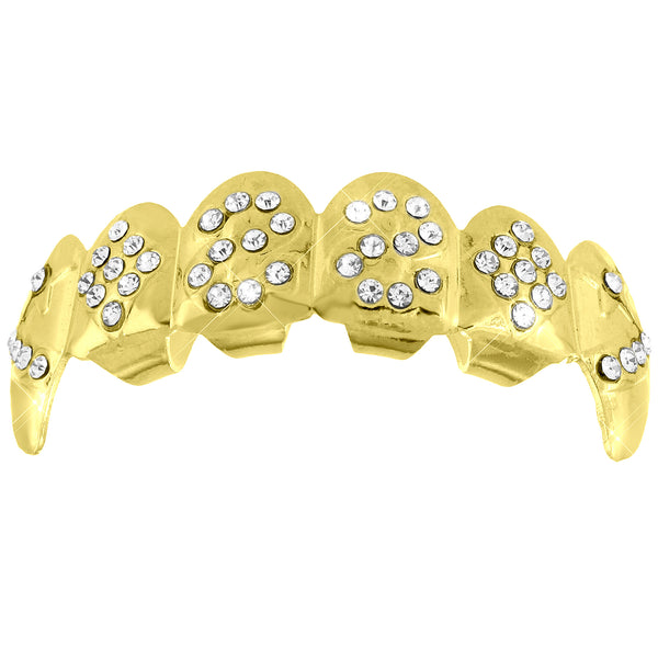 Designer Iced Out Top Teeth Fangs Mouth Grillz 14k Yellow Finish