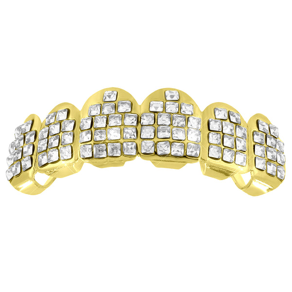 Lab Diamond Top Teeth Grillz 14k Yellow Gold Finish