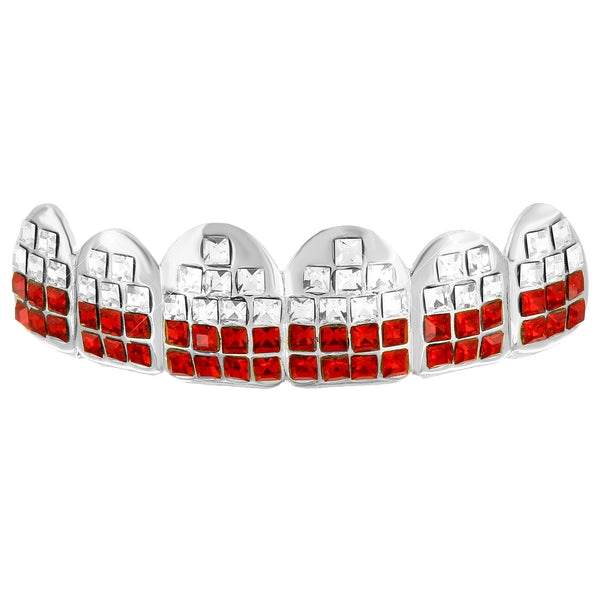 Red White Lab Diamond Top Teeth Grillz