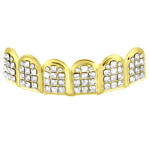Designer Bling Top Teeth Mouth Grillz Yellow Finish