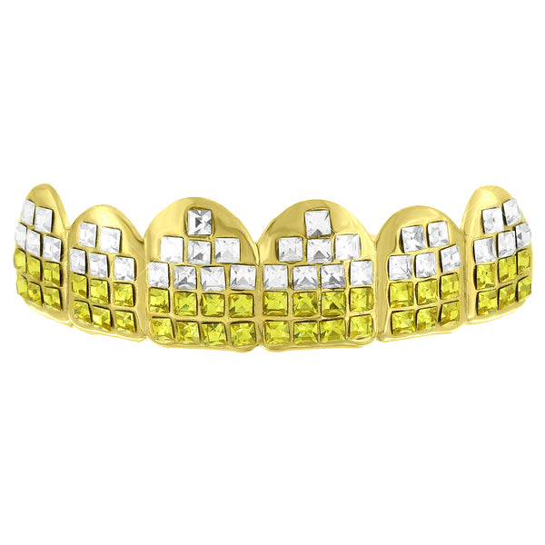 Yellow White Lab Diamond Top Grillz 14k Yellow Gold Finish