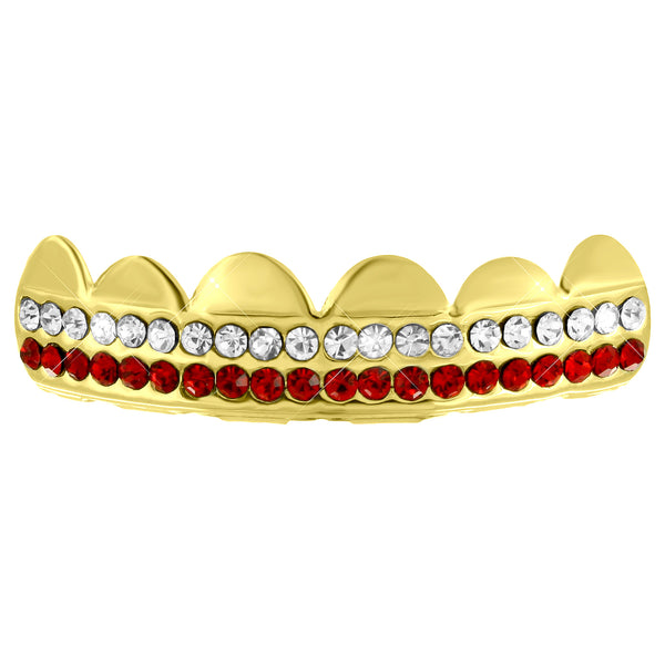 14k Yellow Gold Finish 2 Row Lab Diamond Top Grillz