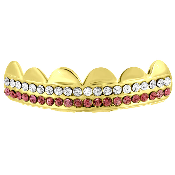 14k Yellow Gold Finish Iced Out Top Grillz