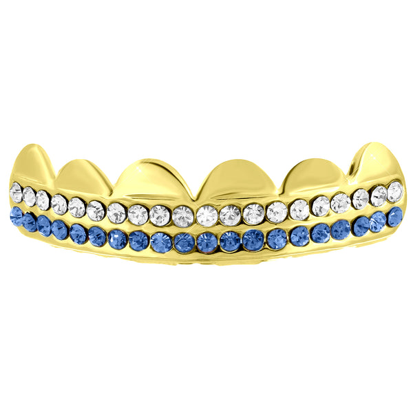 White Blue Iced Two Row Top Grillz For Mens