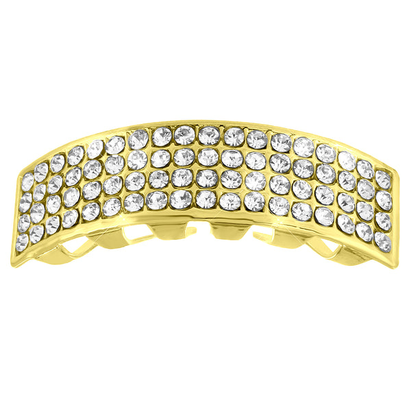 Four Row Iced Lab Diamond Top Teeth Grillz Designer
