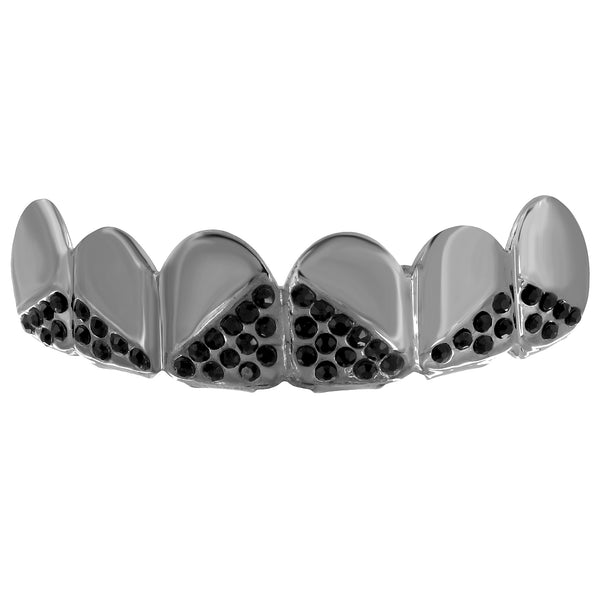 Black Iced Out Top Teeth Grillz Custom