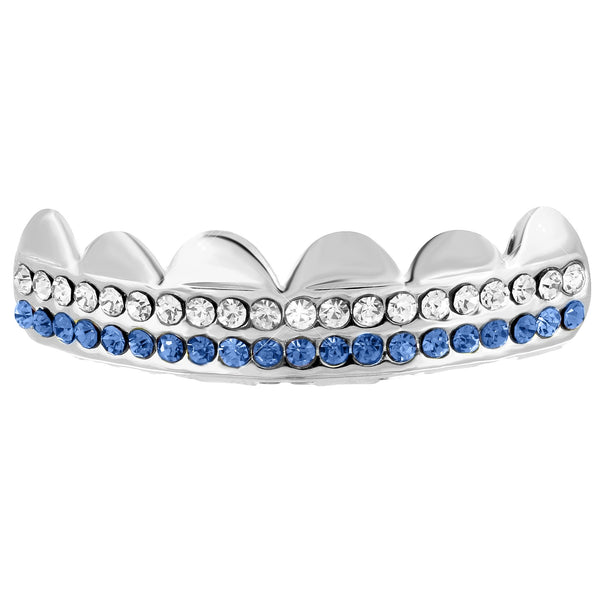 White Gold Finish 2 Row Bling Top Grillz