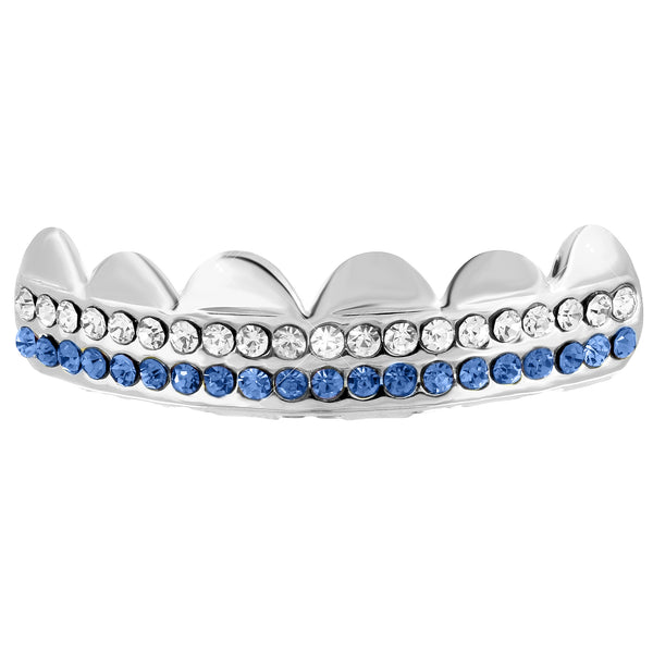 White Gold Finish 2 Row Iced Out Top Grillz