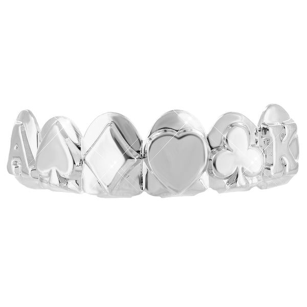 Ace Design Top Teeth White Gold Finish Grillz