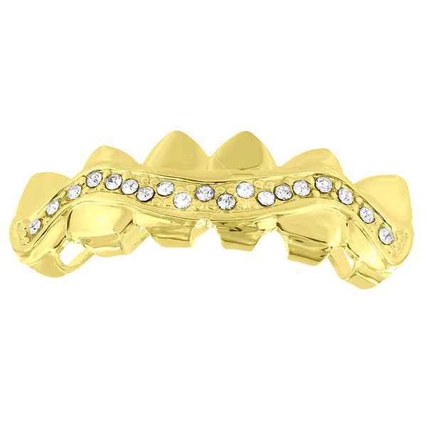 Designer Sharp Edge Top Teeth Grillz Yellow Gold Finish