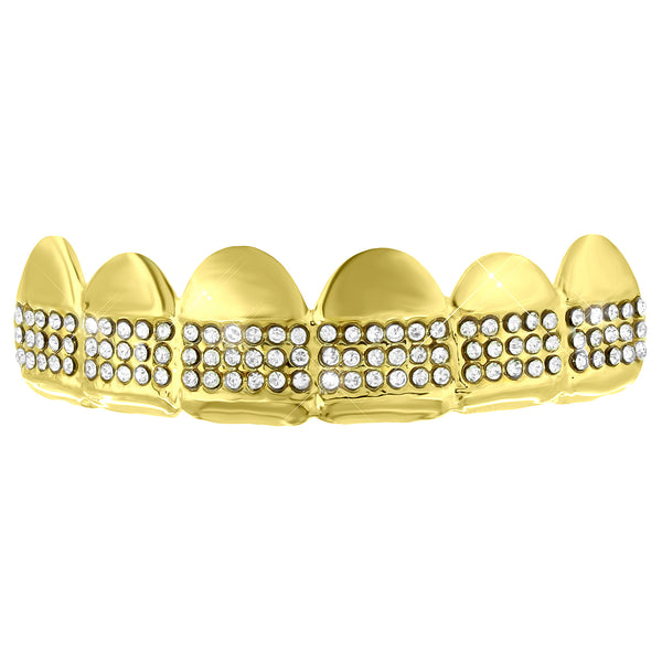 Custom Made Top Teeth Grillz Yellow Finish