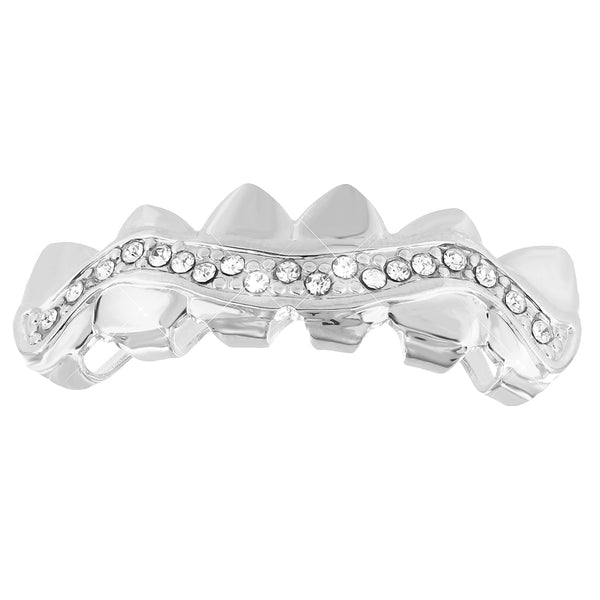 Sharp Edge Top Teeth Mouth Grillz White Gold Finish