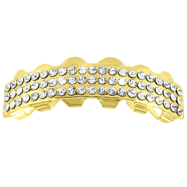 3 Row Top Teeth Grillz 14K Yellow Gold Finish Iced