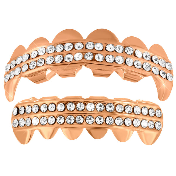 Fangs Grillz Set 14k Rose Gold Tone Top Bottom