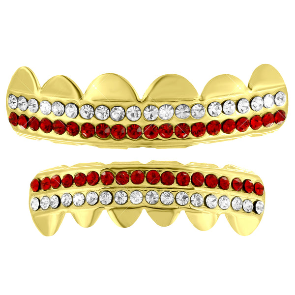 14k Yellow Finish Grillz Red White Lab Diamond Hip Hop Set