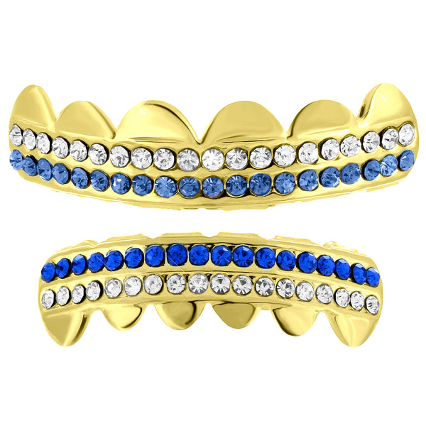 Blue White Lab Diamond Grillz Set Yellow Finish Halloween Special