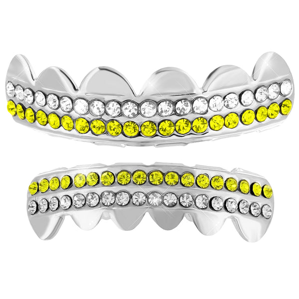 Halloween Special 14k White Finish Grillz Top Bottom Set