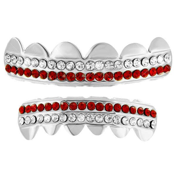 Red White 2 Row Grillz Set 14k White Finish