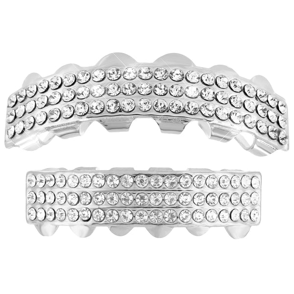 3 Row Iced Out Grillz 14k White Gold finish Sale