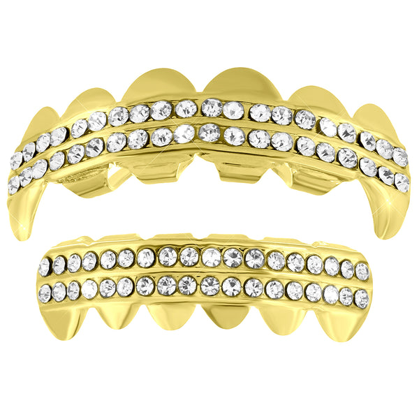 2 Row Fangs Grillz Top Bottom 14k Yellow Finish