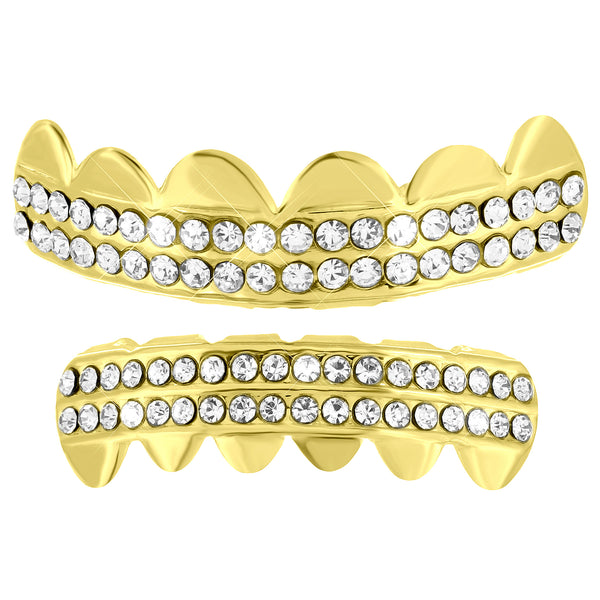 2 Row Iced Out Grillz Top Bottom Set Halloween Special