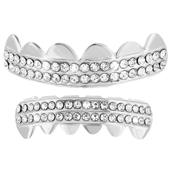 2 Row Top Bottom Grillz Set White Gold Finish Hip Hop