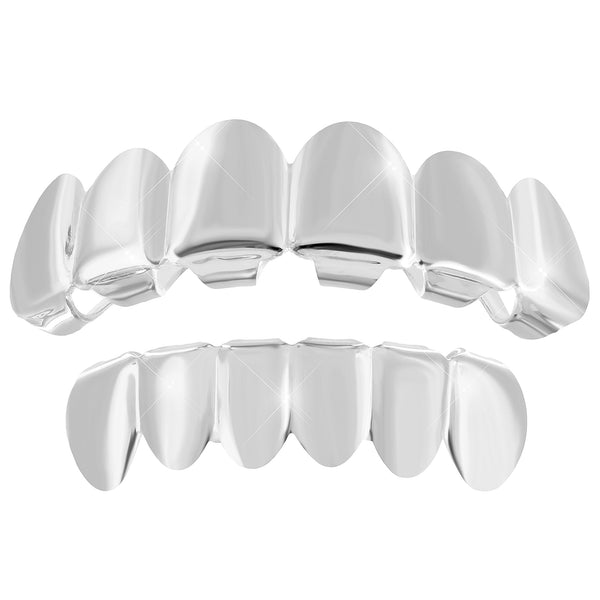 14k White Gold Finish Grillz Plain Top Bottom Set