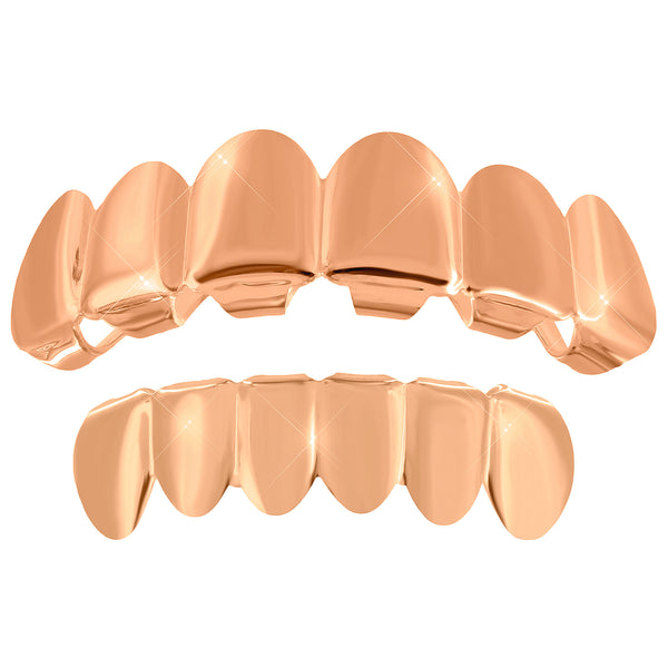 Rose Gold Finish Grillz Top Bottom Set Halloween Special