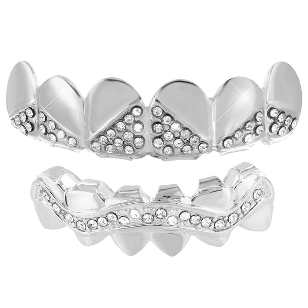 Designer Grillz Top Bottom Set Lab Diamond White Finish