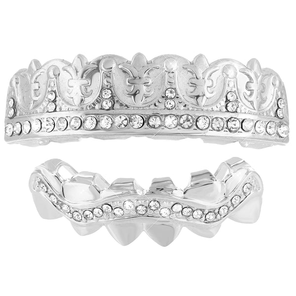 Designer Top Bottom Grillz Set 14k White Gold Finish