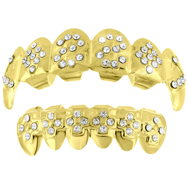 Ace Design Grillz Top Bottom 14k Yellow Gold Finish