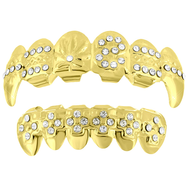 Custom Design Grillz Top Bottom 14k Yellow Gold Finish