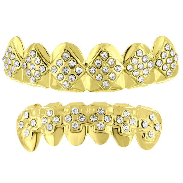 Diamond Shape Lab Diamond Top Bottom Grillz