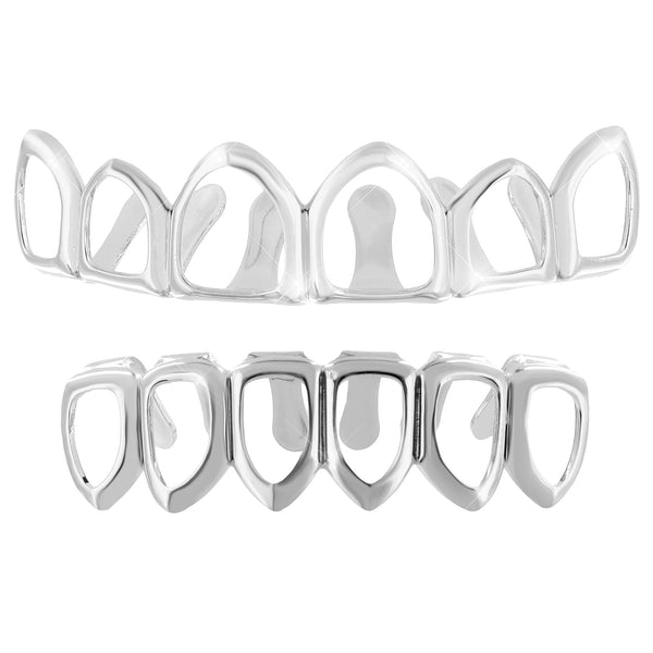 See Through Grillz Set Top Bottom White Finish