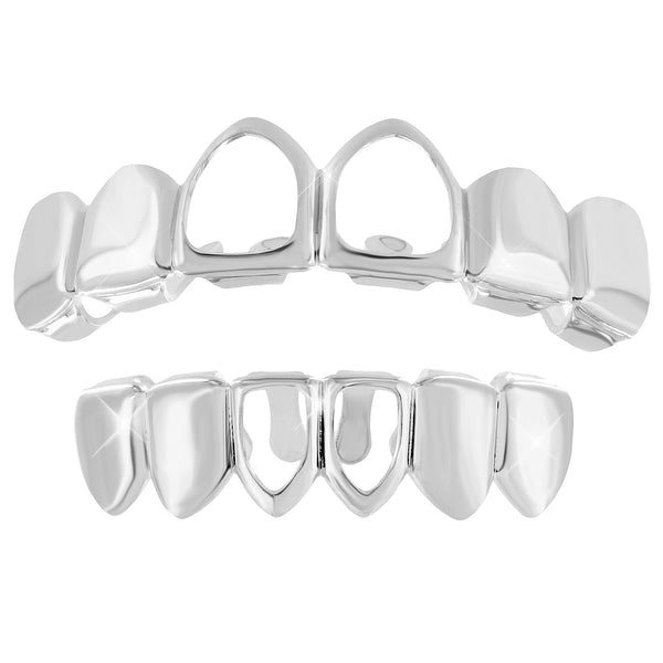 Cut Out Grillz White Finish Top Bottom Set