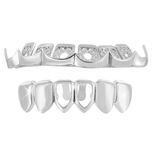 Bleeding Grillz White Gold Finsih Set Halloween Sale