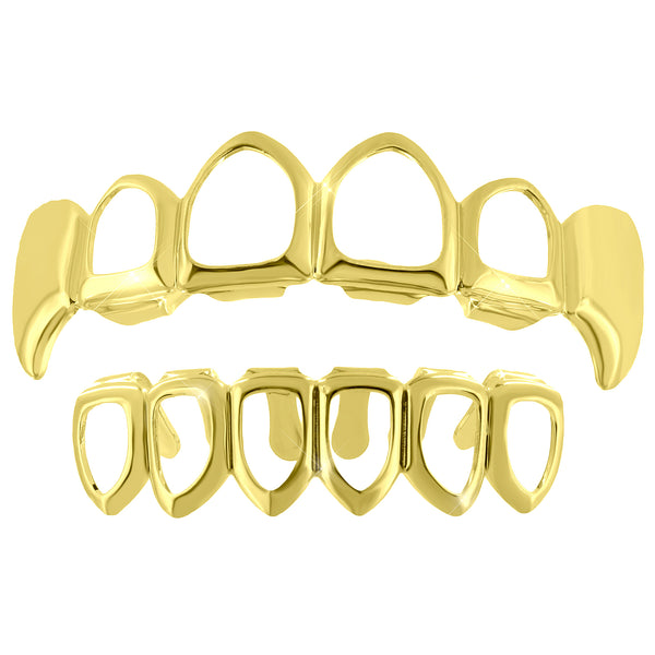 Cut  Fangs Grillz Top Bottom Set 14k Yellow Finish Sale