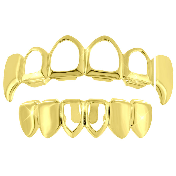 Top Fangs Grillz Plain Bottom 14k Yellow Gold Finish Hip Hop