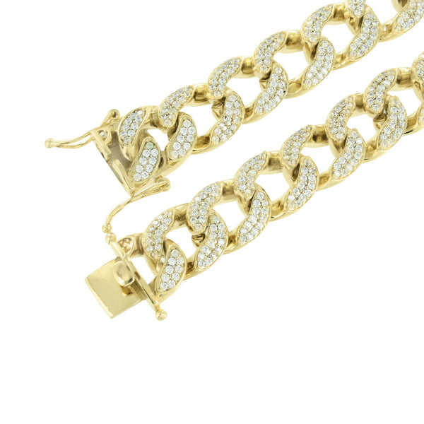 Miami Cuban Necklace Lab Diamonds 14K Yellow Gold Finish 30