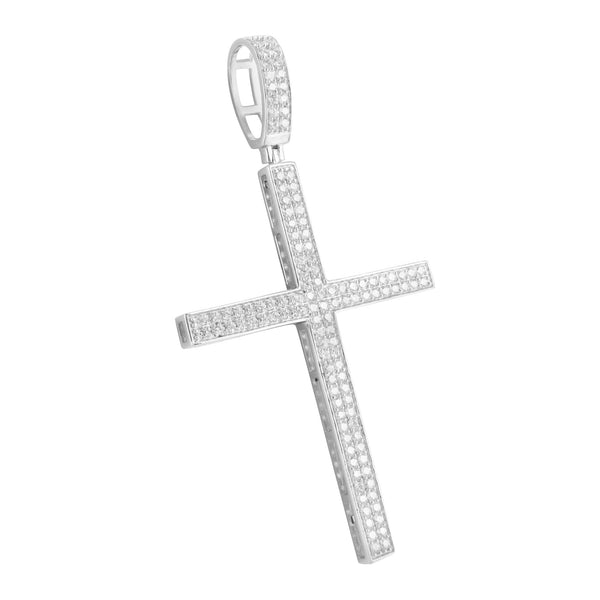 Sterling Silver 925 Lab Diamond Slim Cross Pendant
