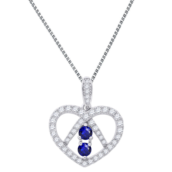 Forever Us Heart Charm Ladies 2 Solitaire Blue Cubic Zircon 925 Silver Box Chain