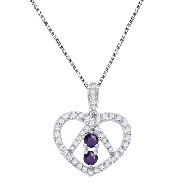 Heart Shape Womens 2 Solitaire Forever Us Chain Charm Purple CZ 0.11ct Silver