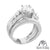 925 Sterling Silver 2pc Bridal Womens Lab Diamond White Gold Finish Ring