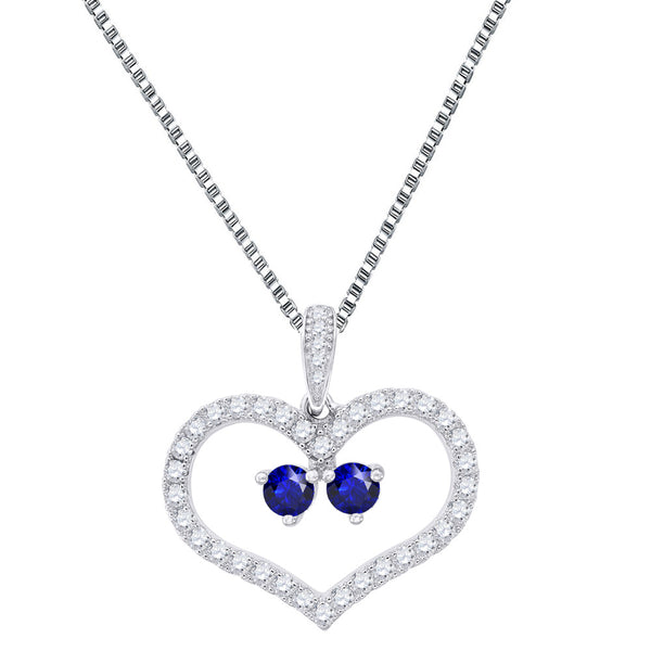 Forever Us 2 Stone Heart Pendant Cubic Zircon Blue Solitaire .925 Silver Chain