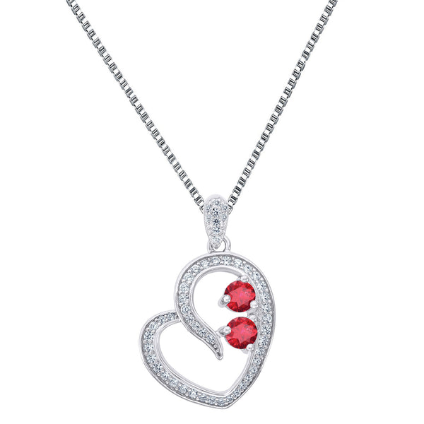 Forever Us 0.25 CT CZ Heart Pendant 2 Solitaire Red Stone 925 Silver 24