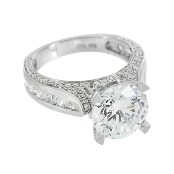 Sterling Silver Solitaire Ring Round Cut Cubic Zirconia Engagement Wedding White