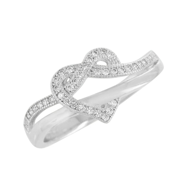 Heart Design Wedding Ring Band 925 Silver Ladies Simulated Diamonds Engagement