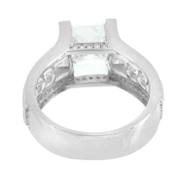 Princess Cut Ladies Ring Sterling Silver Simulated Diamonds Channel Set Wedding